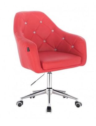Blink HR - fotel fryzjerski czerwona skóra podstawa chrom