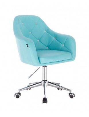 Blink HR - fotel fryzjerski turkusowa skóra podstawa chrom