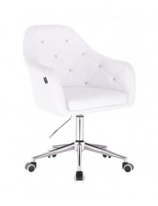 Blink HR - fotel fryzjerski biała skóra podstawa chrom kółka