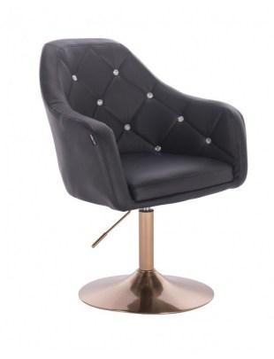 Blink LUX - fotel fryzjerski czarna skóra dysk złoty