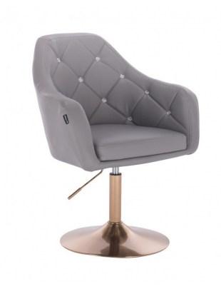 Blink HR - fotel fryzjerski szara skóra dysk złoty