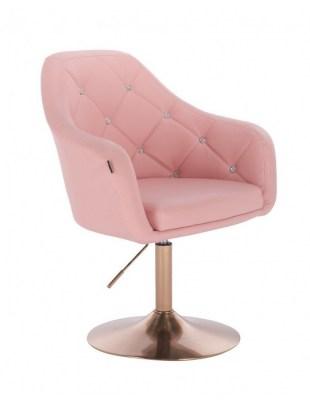Blink LUX - fotel fryzjerski różowa skóra dysk złoty