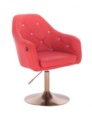 Blink HR - fotel fryzjerski czerwona skóra dysk złoty