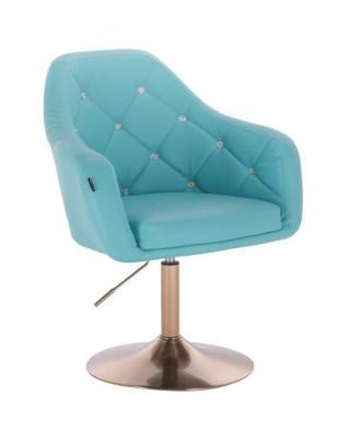 Blink LUX - fotel fryzjerski turkusowa skóra dysk złoty