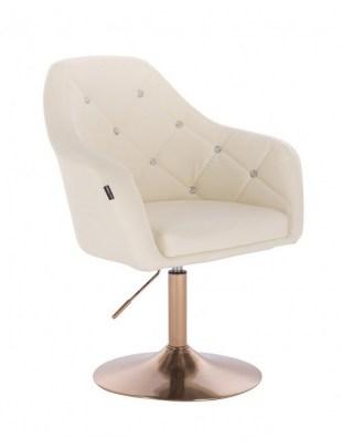 Blink HR - fotel fryzjerski kremowa skóra dysk złoty