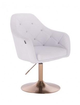 Blink HR - fotel fryzjerski biała skóra dysk złoty