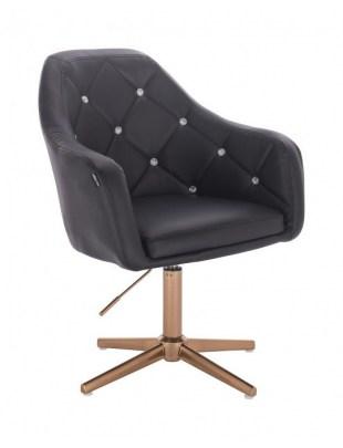 Blink - fotel fryzjerski czarna skóra krzyżak złoty