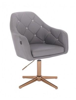 Blink HR - fotel fryzjerski szara skóra krzyżak złoty