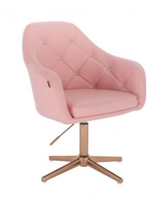 Blink HR - fotel fryzjerski różowa skóra krzyżak złoty