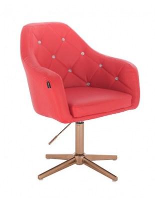 Blink - fotel fryzjerski czerwona skóra krzyżak złoty