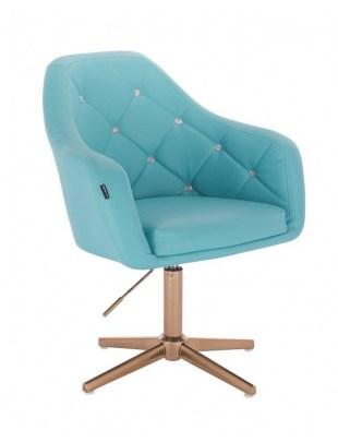 Blink - fotel fryzjerski turkusowa skóra krzyżak złoty