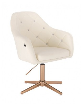 Blink - fotel fryzjerski kremowa skóra krzyżak złoty