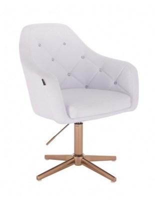 Blink HR - fotel fryzjerski biała skóra krzyżak złoty