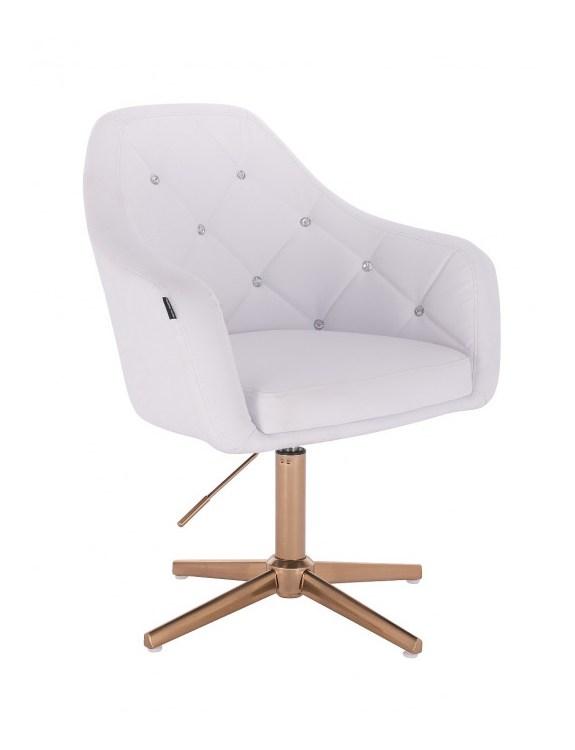 Blink - fotel fryzjerski biała skóra krzyżak złoty