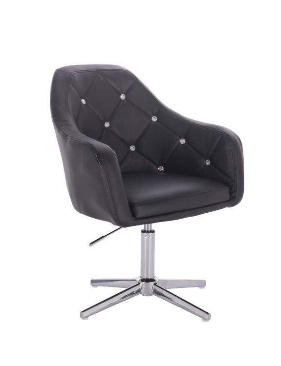 Blink HR - fotel fryzjerski biała skóra krzyżak chrom