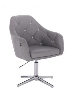 Blink HR - fotel fryzjerski szara skóra krzyżak chrom