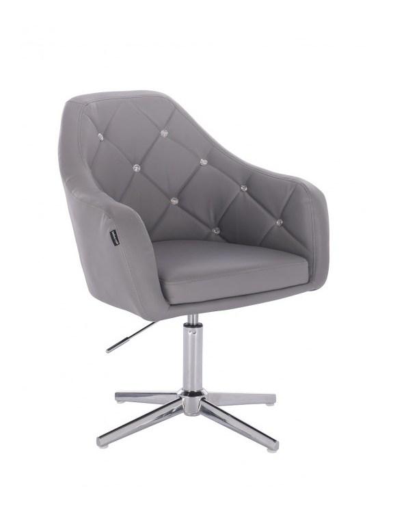 Blink - fotel fryzjerski szara skóra krzyżak chrom