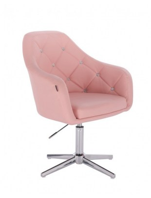 Blink HR - fotel fryzjerski różowa skóra krzyżak chrom