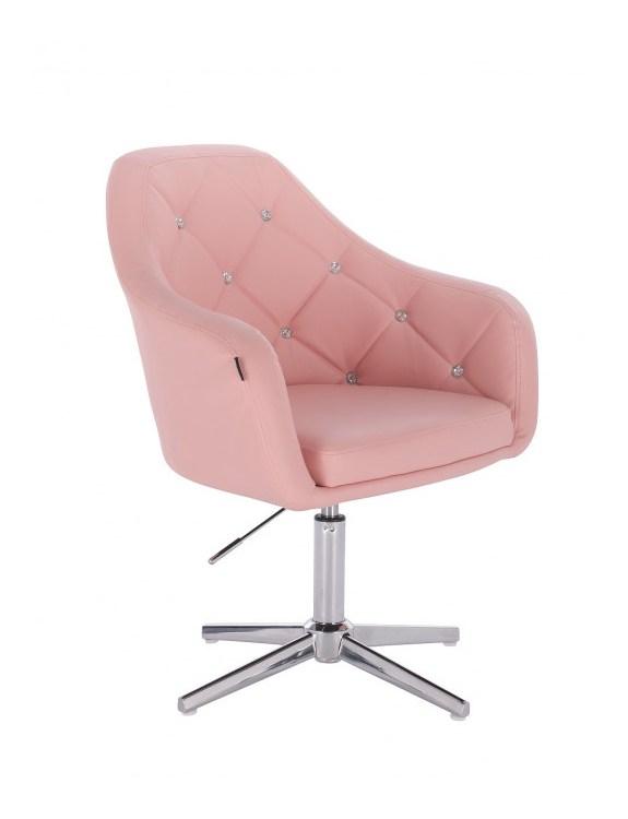 Blink - fotel fryzjerski różowa skóra krzyżak chrom