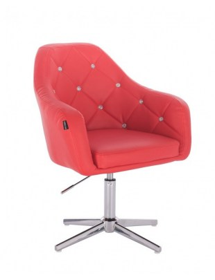 Blink - fotel fryzjerski czerwona skóra krzyżak chrom