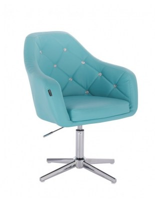 Blink HR - fotel fryzjerski turkusowa skóra krzyżak chrom