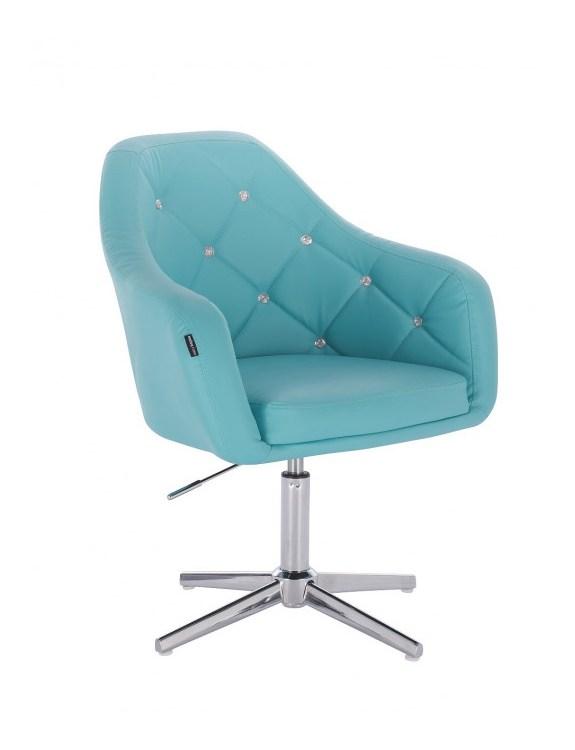 Blink - fotel fryzjerski turkusowa skóra krzyżak chrom