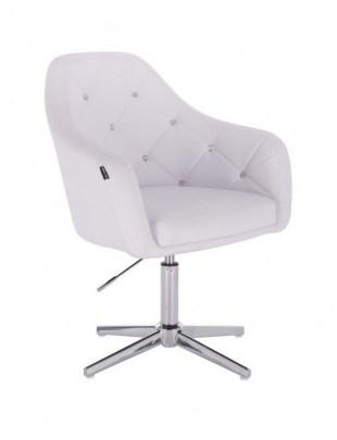 Blink - fotel fryzjerski biała skóra krzyżak chrom