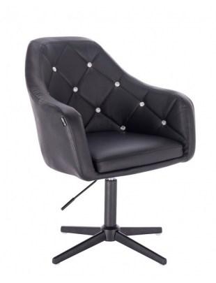 Blink HR - fotel fryzjerski czarna skóra krzyżak czarny