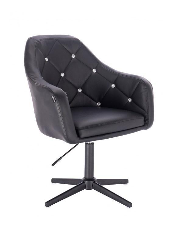 Blink - fotel fryzjerski czarna skóra krzyżak czarny