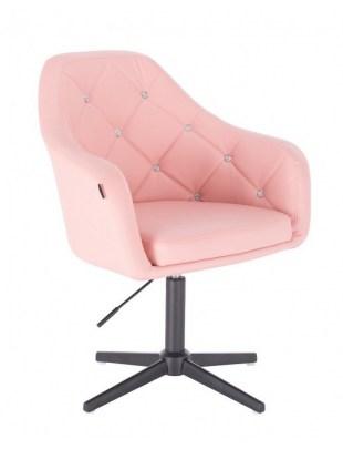 Blink HR - fotel fryzjerski różowa skóra krzyżak czarny