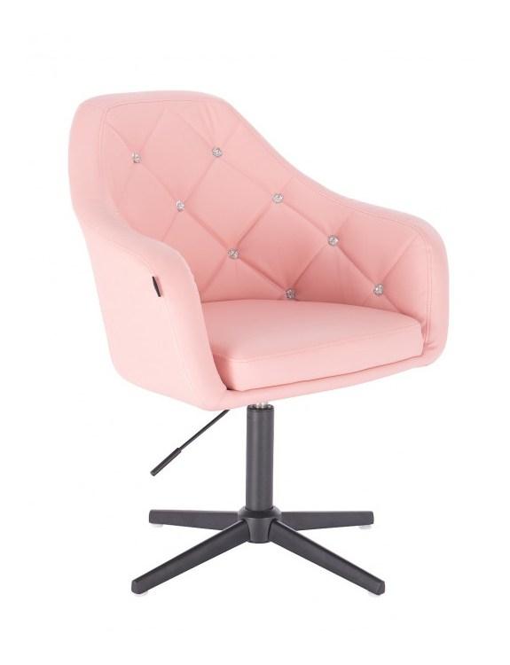 Blink - fotel fryzjerski różowa skóra krzyżak czarny
