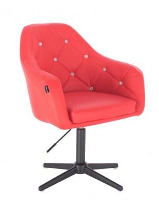 Blink - fotel fryzjerski czerwona skóra krzyżak czarny
