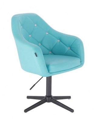 Blink HR - fotel fryzjerski turkusowa skóra krzyżak czarny