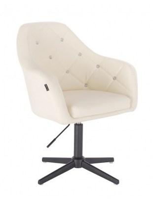 Blink HR - fotel fryzjerski kremowa skóra krzyżak czarny