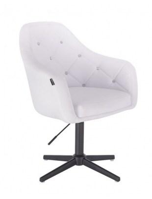 Blink HR - fotel fryzjerski biała skóra krzyżak czarny