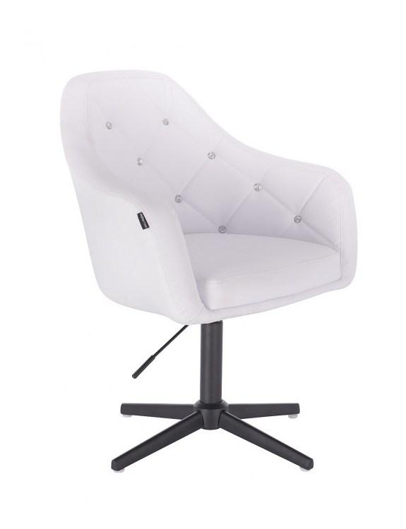 Blink - fotel fryzjerski biała skóra krzyżak czarny