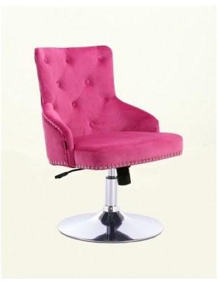 Claris - fotel kosmetyczny malinowy welur dysk