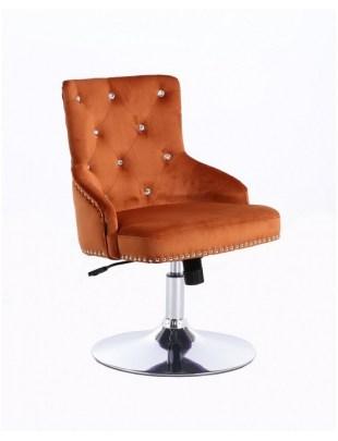 Claris - fotel kosmetyczny miedziany welur dysk z kryształkami