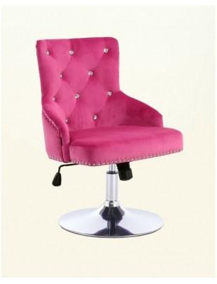 Claris - fotel kosmetyczny malinowy welur dysk z kryształkami
