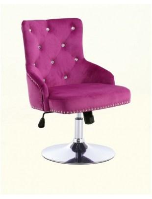 Claris - fotel kosmetyczny fuksja welur dysk z kryształkami