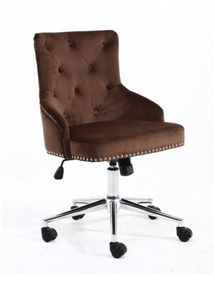 Claris - fotel kosmetyczny czekoladowy welur kółka