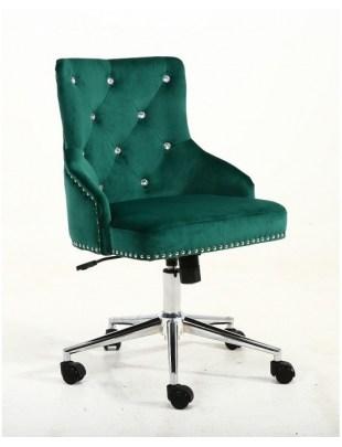 Claris - fotel kosmetyczny butelkowa zieleń welur kółka z kryształami