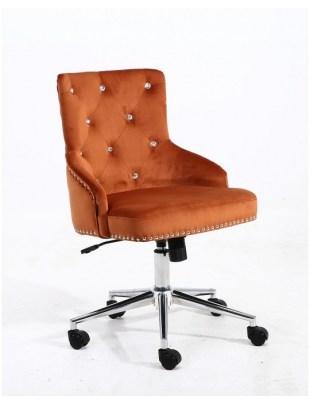 Claris - fotel kosmetyczny miedziany welur kółka z kryształami