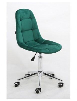 Inga - Krzesło kosmetyczne tapicerowane butelkowa zieleń, chrom, kółka