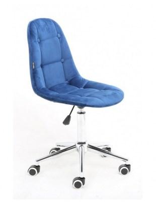 Inga - Krzesło kosmetyczne tapicerowane ciemne morze, chrom, kółka