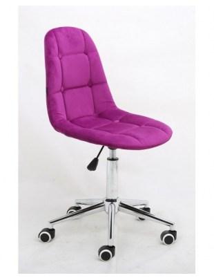 Inga - Krzesło kosmetyczne tapicerowane fuksja, chrom, kółka