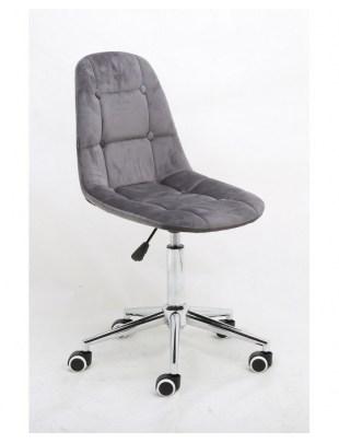 Inga - Krzesło kosmetyczne tapicerowane grafit, chrom, kółka
