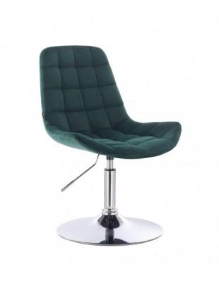 Niklas - Krzesło kosmetyczne tapicerowane welurem w kolorze butelkowa zieleń
