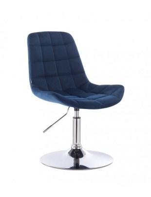 Niklas - Krzesło kosmetyczne tapicerowane welurem w kolorze ciemne morze