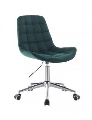 Niklas - Krzesło kosmetyczne tapicerowane butelkowa zieleń welurem